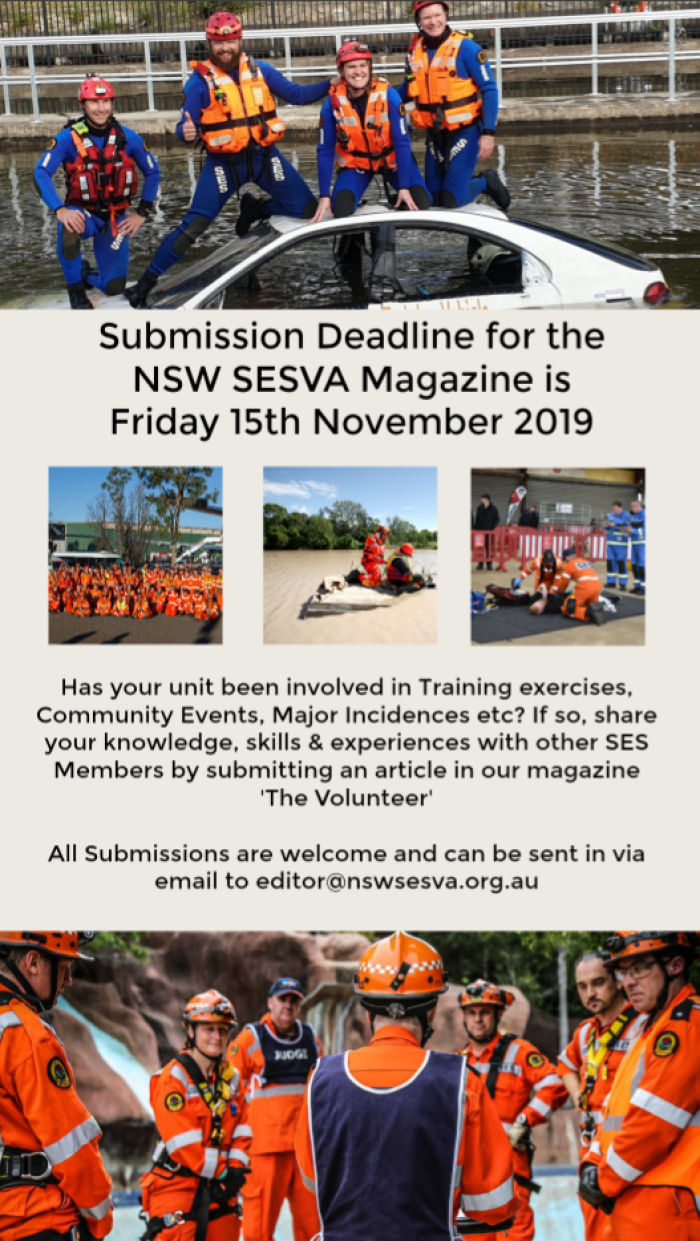 Magazine Submissions due in by 15th November 2019